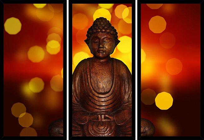 Quadro Mosaico 3 Partes Reto Estatua Buda Art e Cia Preto