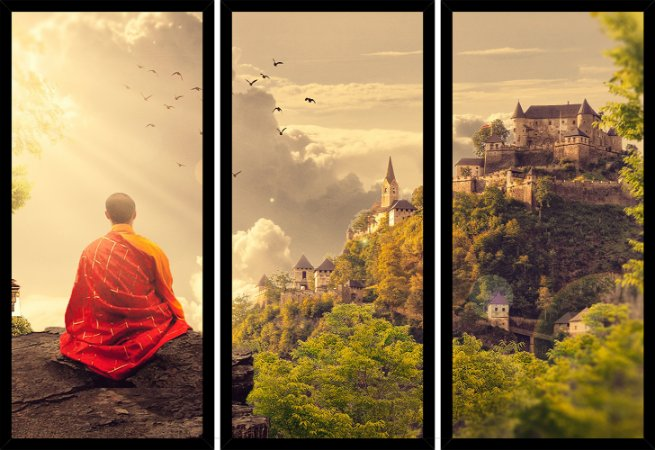 Quadro Mosaico 3 Partes Reto Budismo Art e Cia Preto