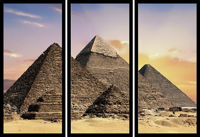 Quadro Mosaico 3 Partes Reto Egito Piramides No Deserto Art e Cia Preto