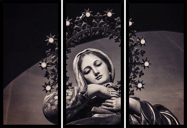 Quadro Mosaico 3 Partes Reto Santissima Virgem Maria Art e Cia Preto