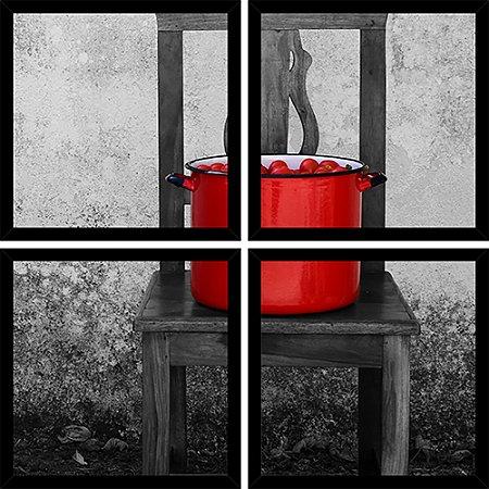 Quadro Mosaico 4 Partes Quadrado Caldeirao de Tomate Na Cadeira Art e Cia Preto