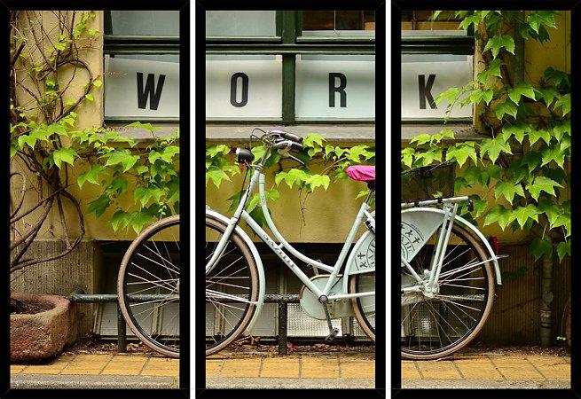 Quadro Mosaico 3 Partes Reto Bicicleta Janela Work Art e Cia Preto