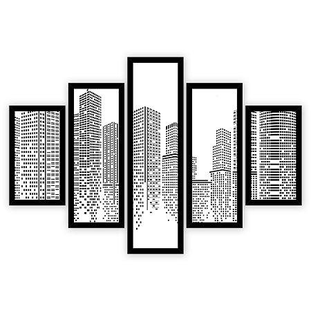 Quadro Mosaico 5 Partes Diferentes Cidade Minimalista Quero Mais Quadros Preto