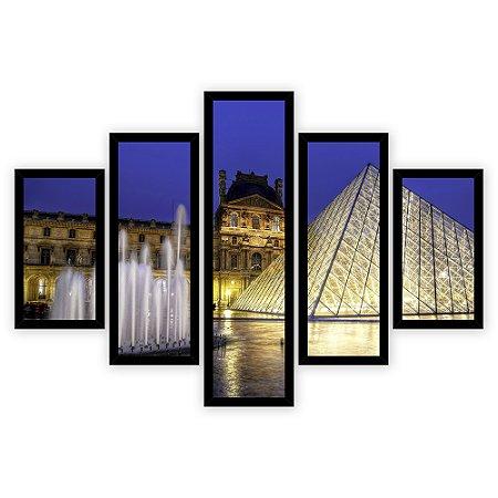 Quadro Mosaico 5 Partes Diferentes Museu Do Louvre Quero Mais Quadros Preto