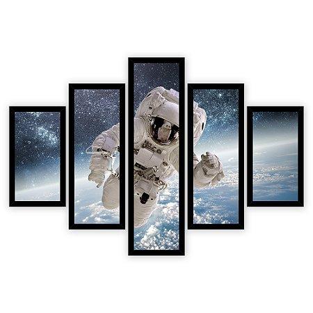 Quadro Mosaico 5 Partes Diferentes Astronauta No Espaco Quero Mais Quadros Preto