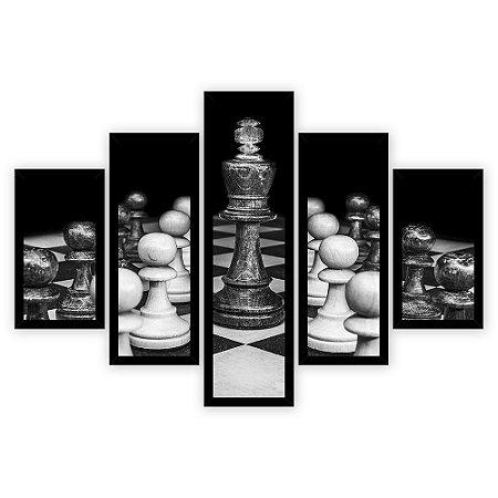 Quadro Mosaico 5 Partes Diferentes Jogo de Xadrez Preto e Branco Quero Mais Quadros Preto
