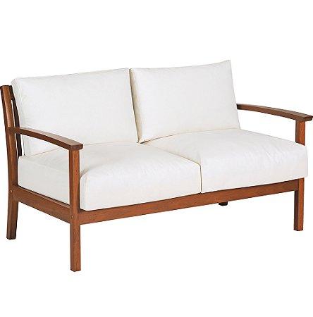 Sofa 2 Lugares com Bracos C  Madeira Jatoba e Estofado Acqua Block Tramontina Branco 72 Cm