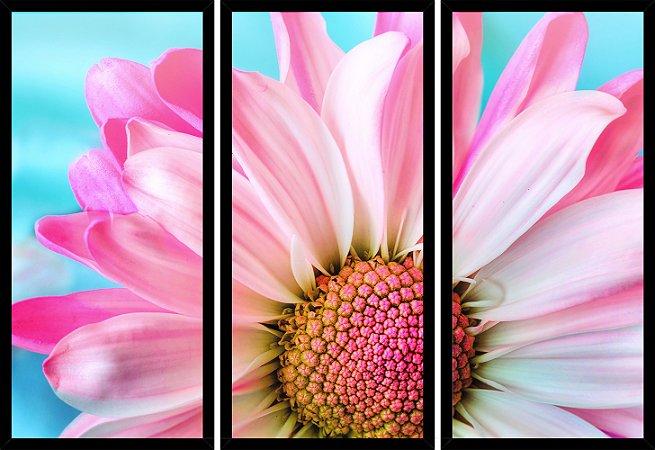 Quadro Mosaico 3 Partes Reto Petal Rosa Art e Cia Preto