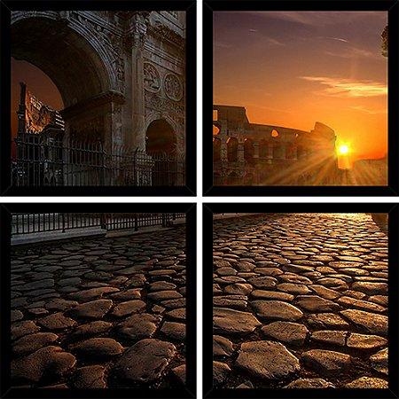 Quadro Mosaico 4 Partes Quadrado Arco Do Constantino Roma Art e Cia Preto
