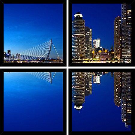 Quadro Mosaico 4 Partes Quadrado Horizonte de Rotterdam Art e Cia Preto
