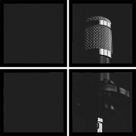 Quadro Mosaico 4 Partes Quadrado Mic Condenser Black And White Art e Cia Preto