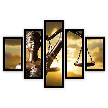 Quadro Mosaico 5 Partes Diferentes Deusa Da Justica Direito Quero Mais Quadros Preto