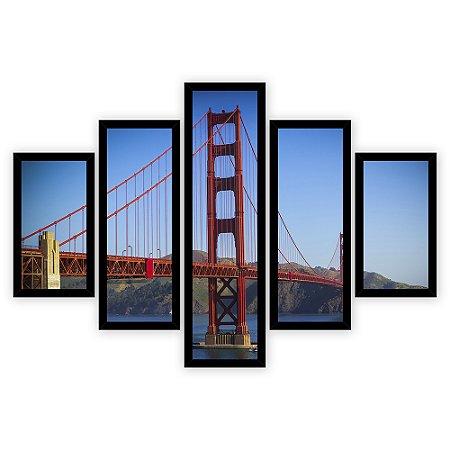 Quadro Mosaico 5 Partes Diferentes A Ponte Golden Gate Quero Mais Quadros Preto