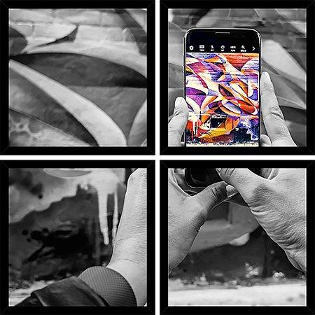 Quadro Mosaico 4 Partes Quadrado Photo Smartphone Art e Cia Preto