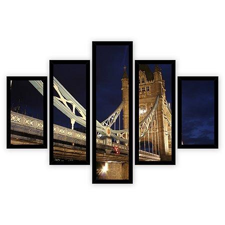 Quadro Mosaico 5 Partes Diferentes A Ponte Tower Bridge Quero Mais Quadros Preto