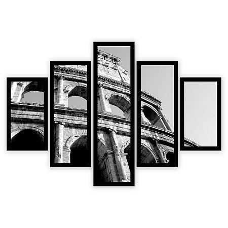 Quadro Mosaico 5 Partes Diferentes Coliseu Preto e Branco Quero Mais Quadros Preto