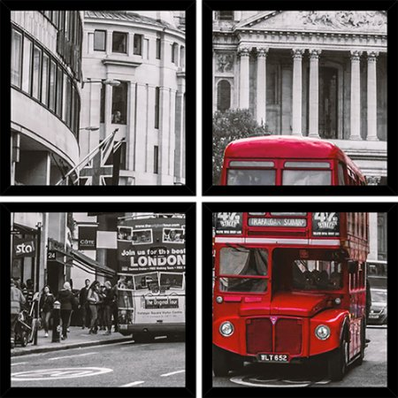 Quadro Mosaico 4 Partes Quadrado Bus London Art e Cia Preto