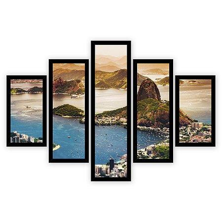 Quadro Mosaico 5 Partes Diferentes Pao de Acucar Do Rio De Janeiro Quero Mais Quadros Preto