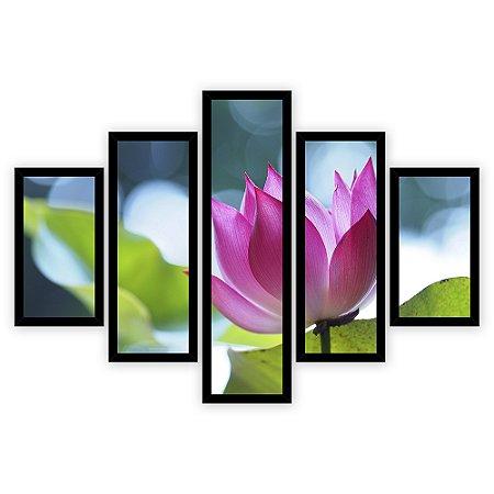 Quadro Mosaico 5 Partes Diferentes Flor de Lotus Quero Mais Quadros Preto
