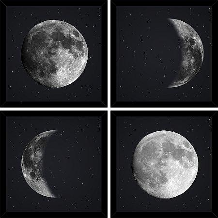 Quadro Mosaico 4 Partes Quadrado As 4 Fases Da Lua Art e Cia Preto