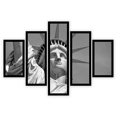 Quadro Mosaico 5 Partes Diferentes Estatua Da Liberdade Preto e Branco Quero Mais Quadros Preto