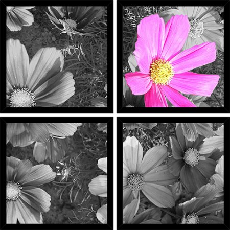 Quadro Mosaico 4 Partes Quadrado Cosmea Pink Art e Cia Preto