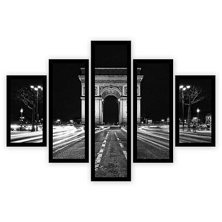 Quadro Mosaico 5 Partes Diferentes Arco Do Triunfo Preto e Branco Quero Mais Quadros Preto