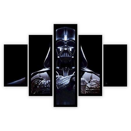 Quadro Mosaico 5 Partes Diferentes Darth Vader Quero Mais Quadros Preto