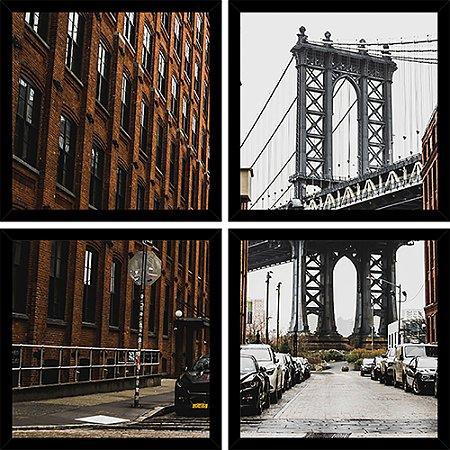 Quadro Mosaico 4 Partes Quadrado Ponte Brooklyn Art e Cia Preto