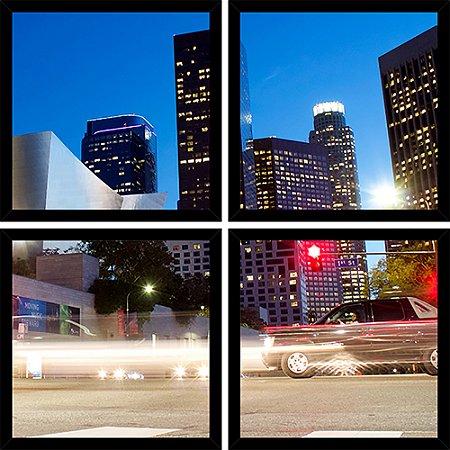 Quadro Mosaico 4 Partes Quadrado Ruas Los Angeles Art e Cia Preto
