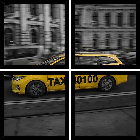 Quadro Mosaico 4 Partes Quadrado Taxi Amarelo Nyc Art e Cia Preto