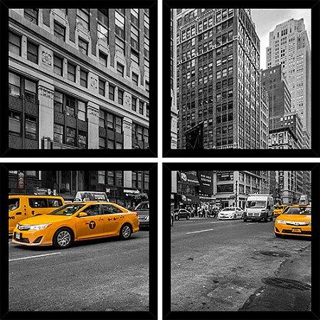 Quadro Mosaico 4 Partes Quadrado Cidade New York Art e Cia Preto