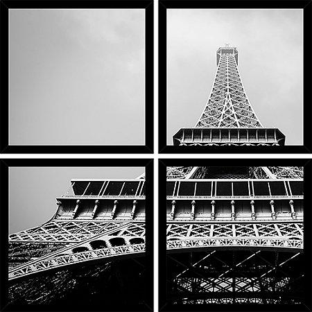 Quadro Mosaico 4 Partes Quadrado Torre Eiffel Peb Art e Cia Preto