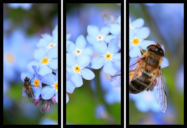 Quadro Mosaico 3 Partes Reto Abelha Flor Azul Art e Cia Preto