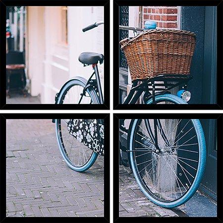 Quadro Mosaico 4 Partes Quadrado Bicicleta Azul com Cesta Art e Cia Preto