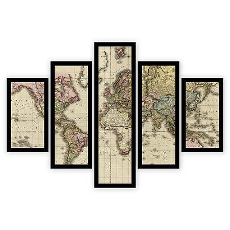 Quadro Mosaico 5 Partes Diferentes Mapa Mundi Antigo Quero Mais Quadros Preto