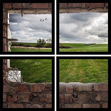 Quadro Mosaico 4 Partes Quadrado Vista Da Janela Art e Cia Preto