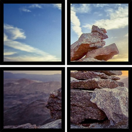 Quadro Mosaico 4 Partes Quadrado Pedras Art e Cia Preto