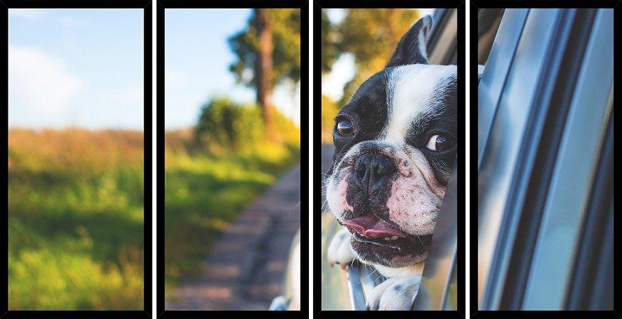 Quadro Mosaico 4 Partes Reto Cachorro Na Janela Art e Cia Preto