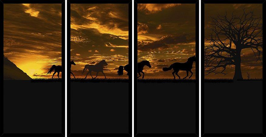 Quadro Mosaico 4 Partes Reto Por Do Sol Cavalos Correndo Art e Cia Preto