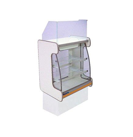 Balcao Caixa Vidro Semi Curvo Pop Luxo Polofrio Branco e Laranja 60 Cm