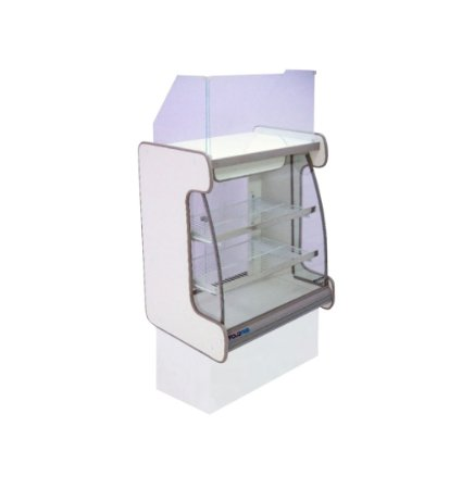 Balcao Caixa Vidro Semi Curvo Pop Luxo Polofrio Branco e Cinza 60 Cm