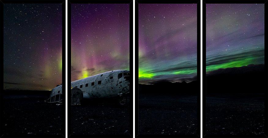 Quadro Mosaico 4 Partes Reto Aurora Boreal Aviao Art e Cia Preto