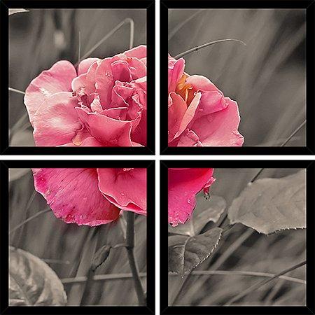 Quadro Mosaico 4 Partes Quadrado Flor Cor de Rosa Art e Cia Preto