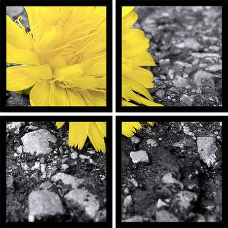 Quadro Mosaico 4 Partes Quadrado Flower Yellow Art e Cia Preto