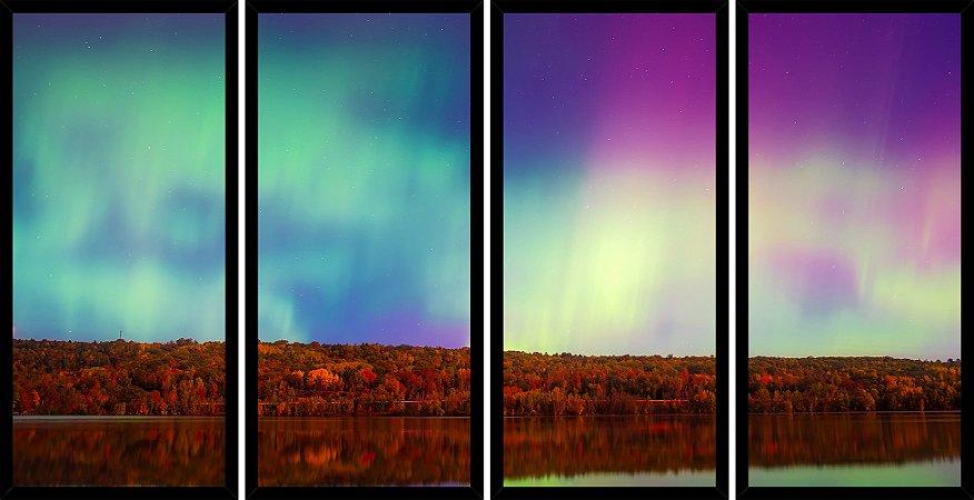 Quadro Mosaico 4 Partes Reto Aurora Boreal Paisagem Art e Cia Preto