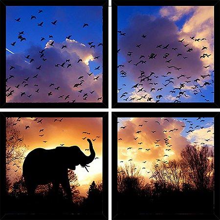 Quadro Mosaico 4 Partes Quadrado Elefante Por So Sol Art e Cia Preto