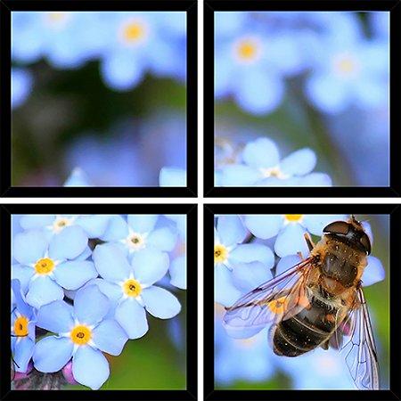 Quadro Mosaico 4 Partes Quadrado Abelha Flor Azul Art e Cia Preto