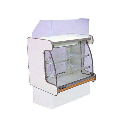 Balcao Caixa Vidro Semi Curvo Pop Luxo Polofrio Branco e Laranja  1,25 M