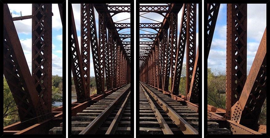 Quadro Mosaico 4 Partes Reto Arquitetura Ferrovia Art e Cia Preto
